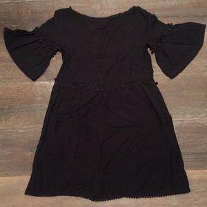 Black loose dress w/ pompoms